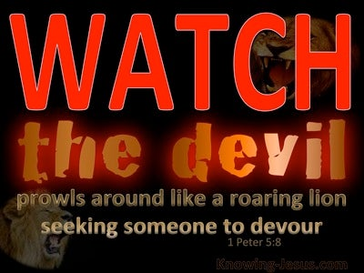 1 Peter 5:8 Be Sober The Devil Prowls Around (red)